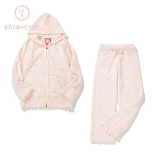 BrawEase Pink Womens Little Heart Flannel Long Sleeve Hooded Pajama Set