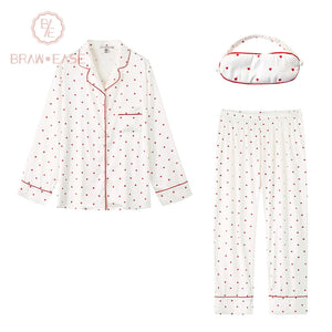 BrawEase Womens Red Little Heart Satin Button Up Long Sleeve Pajama Set with Eye Mask