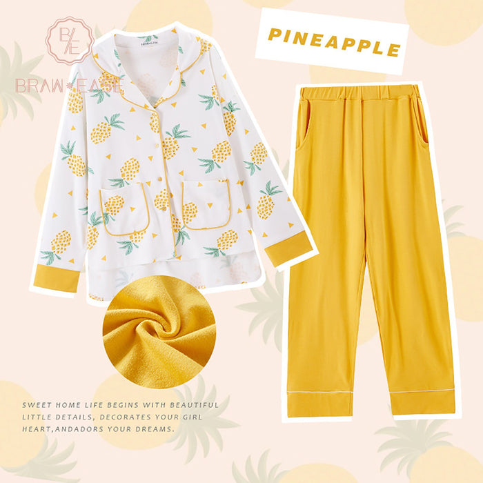 Womens Pineapple Print Cotton Long Sleeve Pajama Set