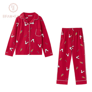 BrawEase Red Womens Rabbit Carrot Print Cotton Long Sleeve Pajama Set