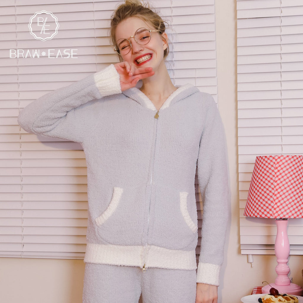 BrawEase Womens Rabbit Ear Flannel Long Sleeve Zipper Pajama Set
