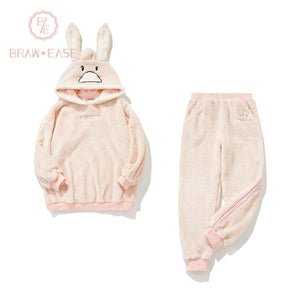 BrawEase Womens Rabbit Pattern Fluffy Flannel Hooded Pajama Set