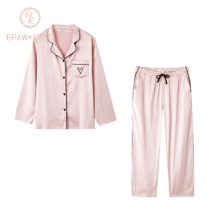 BrawEase Pink Womens Satin Button Up Long Sleeve Pajama Set
