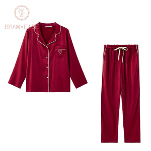 BrawEase Red Womens Satin Button Up Long Sleeve Pajama Set