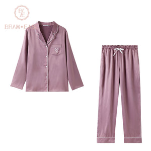 BrawEase Purple Womens Satin Button Up Long Sleeve Pajama Set