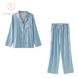 BrawEase Light Blue Womens Satin Button Up Long Sleeve Pajama Set