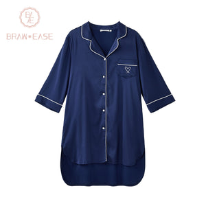 BrawEase Blue Womens Satin Button Up Short Sleeve Nightgown