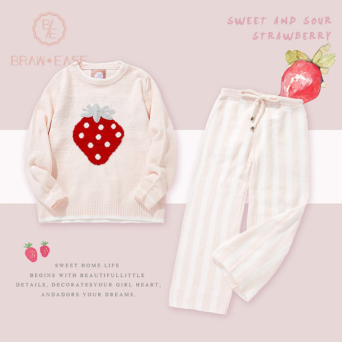 Womens Strawberry Flannel Long Sleeve Pajama Set