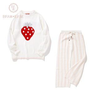 BrawEase White Womens Strawberry Flannel Long Sleeve Pajama Set