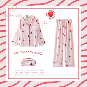 BrawEase Womens Strawberry Satin Button Up Long Sleeve Pajama Set with Eye Mask