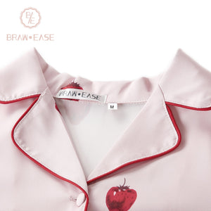 BrawEase Womens Strawberry Satin Button Up Long Sleeve Pajama Set with Eye Mask Detail
