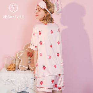 BrawEase Womens Strawberry Satin Button Up Short Sleeve Pajama Set with Eye Mask