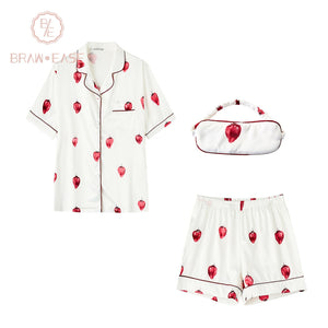 BrawEase White Womens Strawberry Satin Button Up Short Sleeve Pajama Set with Eye Mask
