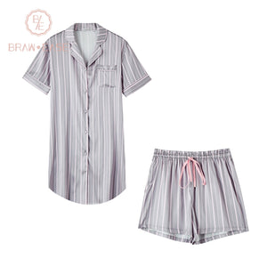 BrawEase Womens Stripe Satin Short Sleeve Pajama Set with Shorts
