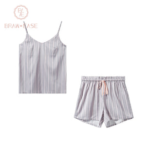 BrawEase Womens Stripe Satin Sling with Shorts