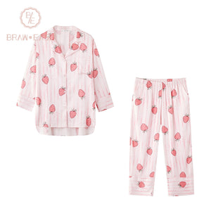 BrawEase Womens Stripe Strawberry Satin Button Up Long Sleeve Pajama Set