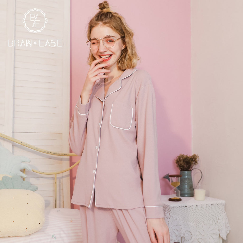 BrawEase Womens Woven Cotton Long Sleeve Pajama Set