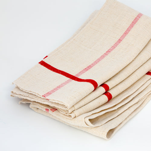 Vintage Red Striped Dishtowel