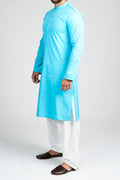 Burooj Men's Aqua Blue Modern Slim Fit Kurta