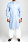 Burooj Men's Sky Blue herringbone design Kurta