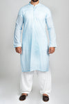 Burooj Men's Sky Blue Soft Cotton Kurta Slim Fit