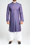 Burooj Men's two tone Embroidered Purple Kurta Slim Fit
