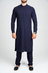 Burooj Men'sNavy Blue Kurta with Trousers Slim Fit