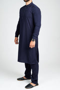 Burooj Men's  Navy Blue Kurta with Trousers Slim Fit