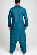 Burooj Men's Shalwar Kameez Festive Teal suit 2pc
