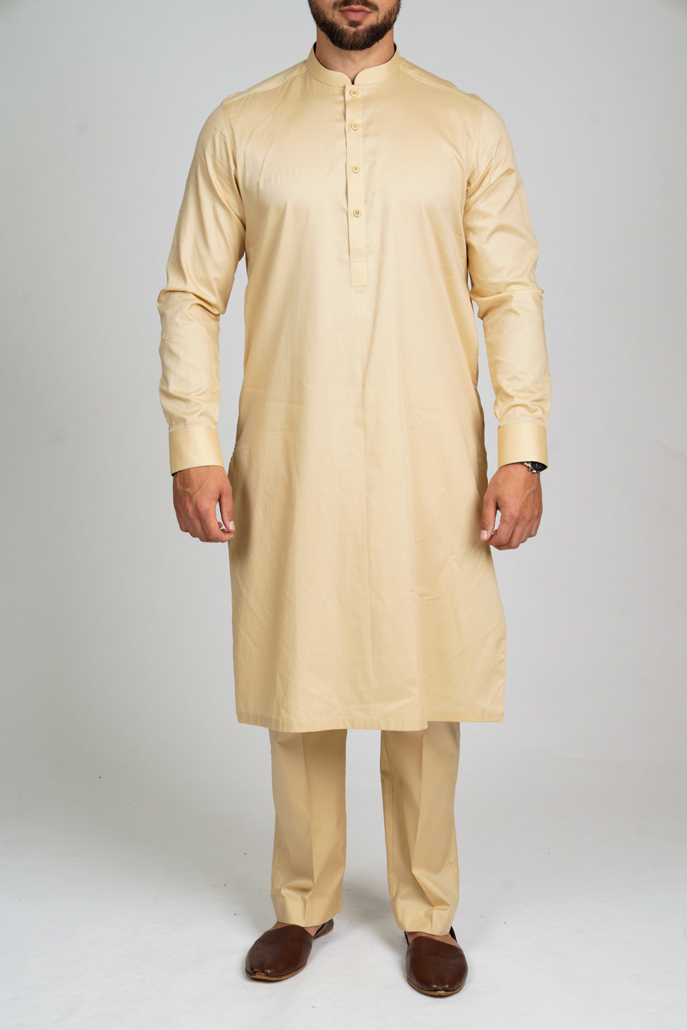 Burooj Men's Exclusive Sand  Kurta with Trousers Slim Fit