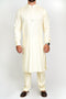 Burooj Men's Exclusive Cream Kurta with Trousers Slim Fit