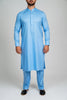 Burooj Men's Exclusive Sky Blue Kurta with Trousers Slim Fit