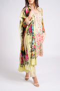 Double toned Ladies cream front  3 piece, Kameez Trouser Suit.