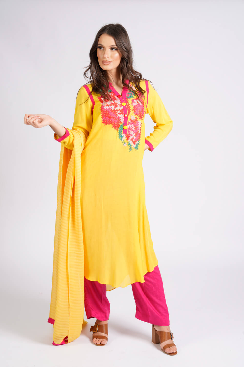 Burooj Winter Collection yellow 3 piece Suit.
