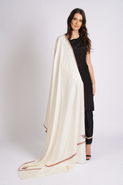 Burooj Women's Cream, Wool blend Shawl