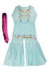 Girls Mint Kameez Ghrara & Dupatta 3pc
