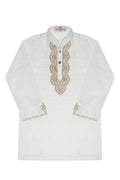 Boys Kids Shalwar Kameez White Ayudha 2 pc
