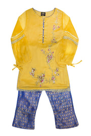 Girls Yellow Kameez Capri 2pc