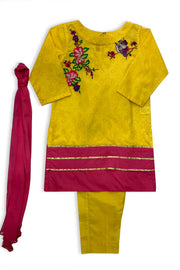Girls YellowShalwar Kameez 3pc