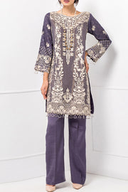 Burooj Ladies Lilac 3pc Khadi Net Shirt with trouser.