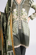Burooj winter green suit with Shawl 3 piece Suit.