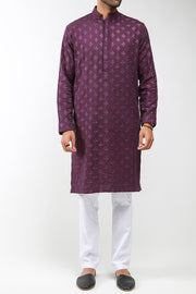 Burooj Mens Purple Embroidered Kurta/Shalwar