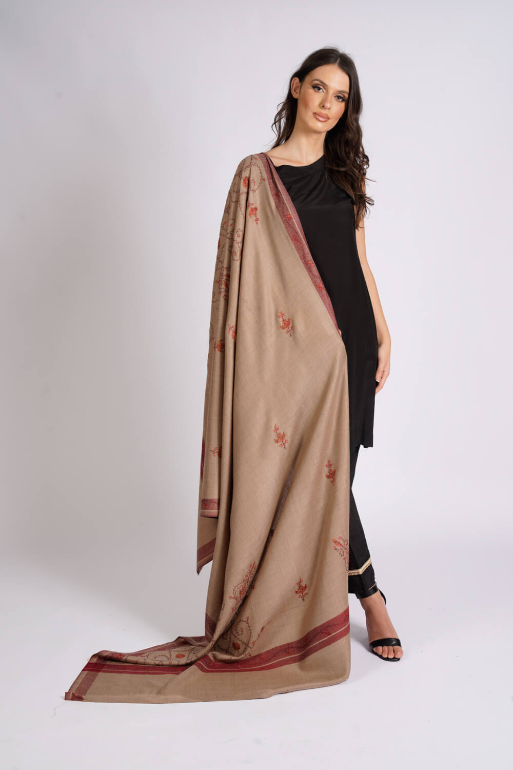 Burooj Women's brown Wool blend Shawl