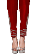 Raw silk Red Trousers
