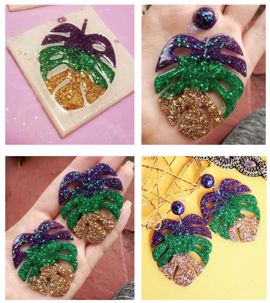 REBL X RETRO LUXE RESIN MARDI GRAS LEAF EARRINGS