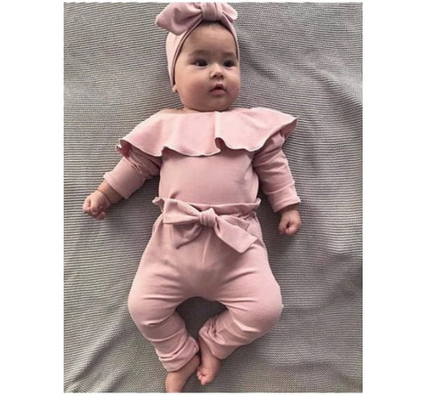 bodysuit jumpsuit top solid bowknot pants - KiddieWorld