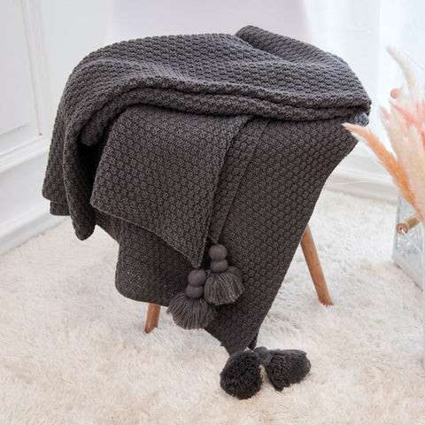 Knitted Tassel Baby Blanket 100% Cotton  170*130cm - KiddieWorld