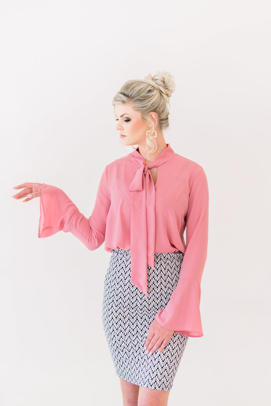 Blushed Pink Bowtie Blouse