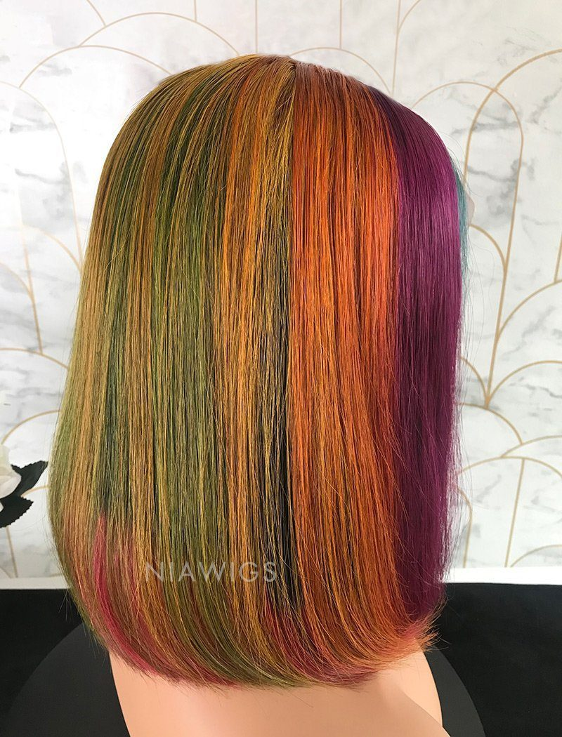 Load image into Gallery viewer, Renee||Remy Hair 12 Inches Lace Front Wig Rainbow Color