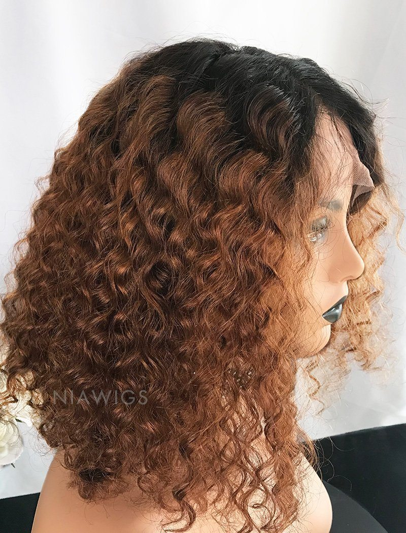 Load image into Gallery viewer, Christine||Remy Hair 14 Inches Lace Front Wig Ombre 1B/30